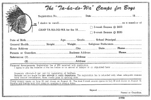 Camp Ta-Ha-Do-Wa Application Form