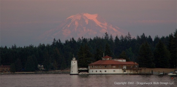 Fox Island, Washington, overlooking the Tanglewood Island lighthouse, and  Mt Rainier in the distance